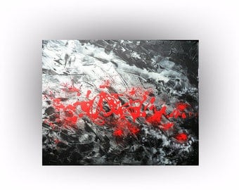 Abstract Painting Metallic Silver and Black Original Painting Acrtylic Palette Knife Wall Decor Art - 24 x 30 - Skye Taylor