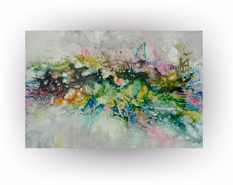 Abstract Palette Knife Rainbow Color Painting Wall Decor, Home Decor Palette Knife - Kisses from Heaven - 24 x x 36 - Skye Taylor