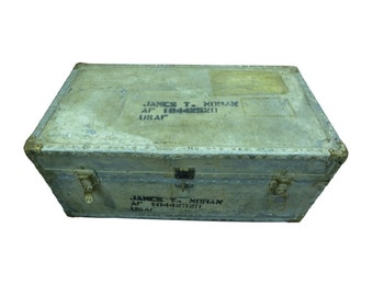 Original WWII Era Korean War USAF Trunk Foot Locker ID'd James T Moran