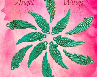 Patina Angel Wing charms (6)