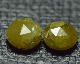 SALE 0.90ct pair Chartreuse yellowish green ROSE Cut DIAMONDS 4.55 by 2.8mm 0.90ct total