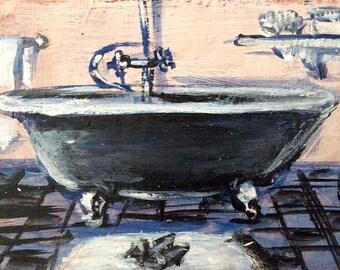 Bathroom Black  Bathtub mini original painting on wood panel 3 x 4 ''