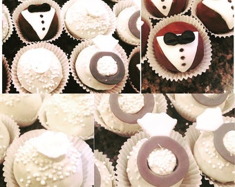 Bride and groom wedding truffle, cake ball, cakepops.