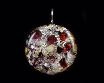 Orgonite® Orgone Energy Pendant with Tibetan Crystals, Red Garnets, Phenacite, Petalite, Tourmaline, Shungite, Selenite, Copper (a18)