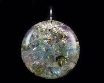 Moldavite Orgonite® Pendant. Apatite, Fluorite, Phenacite Petalite Arkansas Crystals, Elite Shungite, Rhodizite, Tourmaline, Selenite (c22)