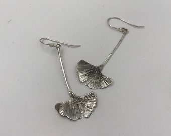 Ginkgo Leaf Earrings in Sterling Silver | All Handmade | The Bleu Giraffe | 38.00 | Wearable Art | Reclamed Metal | Eco Friendly | Vegan