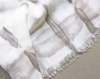 Gray Scarf, Shibori Scarf, Hand Painted Scarf, Light Gray Scarf, Modern Scarf, Gray Cotton Scarf, Watercolor Scarf, Natural Fiber Scarf, USA