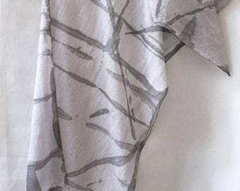 Gray Shibori Scarf, Black and Gray Scarf, Hand Painted Scarf, Watercolor Scarf, Hand Painted Scarf, Men's Scarf, Gray Cotton Scarf