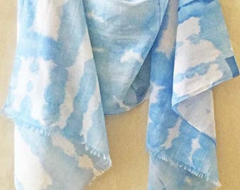 Blue Cotton Scarf, Blue Scarf, Blue Shibori Scarf, Hand Painted Scarf, Watercolor Scarf, Boho Scarf, Hand Dyed Scarf, Festival Scarf, USA