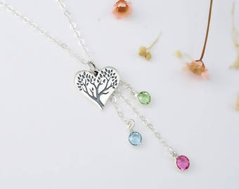 Family Tree of Life Heart Birthstone Necklace, December Blue Zircon Personalized Crystal Gift for Mother Grandmother Mom New Mom Silver