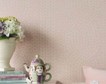Chunky Cable Knit Wall Stencil for DIY Wallpaper Look