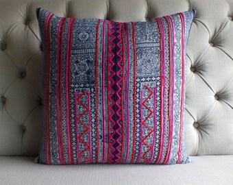 "20""x20"" Vintage Batik Handwoven Hemp, Pillow Cover, Cushion Cover, Tribal Throw Pillow Case, Sofa Cushions"