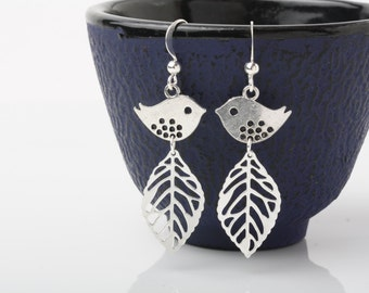 silver bird and leaf earrings, bird dangles, sparrow earrings, leaf earrings, bird jewelry, silver sparrows, silver bird and leaf dangles