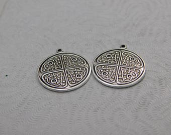 LuxeOrnaments Oxidized Sterling Silver Plated Round Pendants 20mm (2 pc)  F-A7488-1