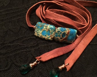 Turquoise Leather Wrap Bracelet or Necklace/Choker/belt
