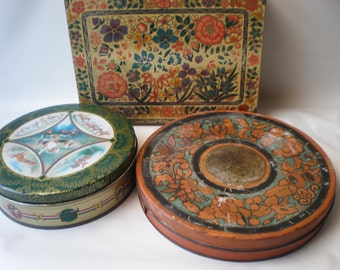 Instant Collection of Vintage Round English Biscuit Tins