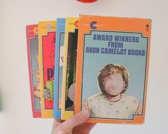 Vintage AVON CAMELOT BOOKS Set of 4....instant collection. 1970s 1980s books. children. girls. teens. fiction. fun. bridge to terabithia
