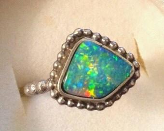 SUPER SALE Fiery opal sterling silver ring ooak