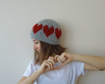 Hand Crocheted heart beanie hat,gray and red beanie