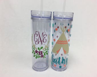 Antler or TeePee Personalized acrylic tumbler, name or monogram, Tribal, Available in skinny, standard, sport bottle, mason, kiddie & XL cup
