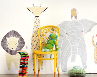 GINGIBER SAFARI ANIMALS Eco-Friendly Reusable Fabric Wall Decals by Pop & Lolli