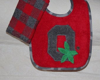 Ohio State Baby Buckeye Baby Block O Baby Bib with a Scarlet and Grey Plaid Flannel Burp Cloth for Buckeye Baby Boy or Ohio State Baby Girl
