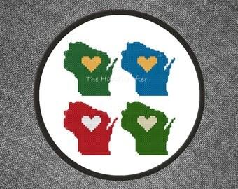 Wisconsin Team Pride Cross Stitch Pattern (Packers, Badgers, Brewers, Bucks)