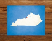 Customized Kentucky State Art Print, State Map, Heart, Silhouette, Aged-Look Personalized Print