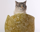 Cat Canoe Modern pet bed made in neutral khaki cotton batik fabric