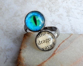 Dragon Ring, Dragon Eye Ring, Blue Dragon Eye, Dragon Eye, Adjustable Ring