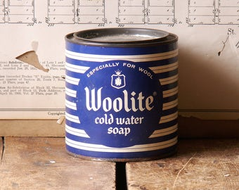 Vintage Woolite Cold Water Soap Tin - Great Blue and White Striped Graphics!