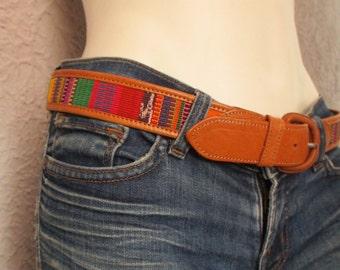 Vintage Hippie Leather Rainbow Belt med.  unisex