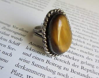 Vintage Tiger's Eye Sterling Ring Native American sz 5