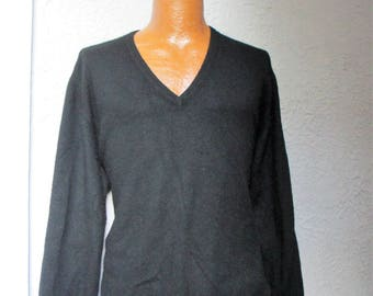 Vintage Men's Black Pure Cashmere Pullover Sweater Scotland large