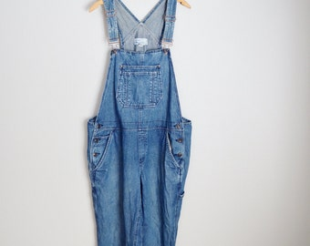 vintage old navy jean denim overall dungarees -- womens xlarge