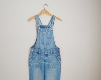 vintage denim jean overalls dungarees -- womens medium -- 32x29
