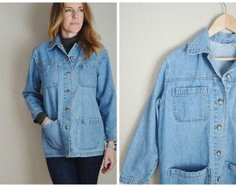 vintage denim jean chore coat style jacket-- womens oversize small