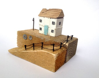 Driftwood house, gift, original home decor, driftwood ornament, wedding present, Driftwood art, nautical, wooden house