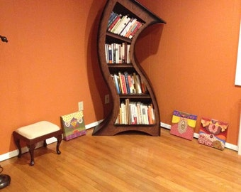 Handmade 5.5ft Curved Bookshelf Oak Stained/Blk
