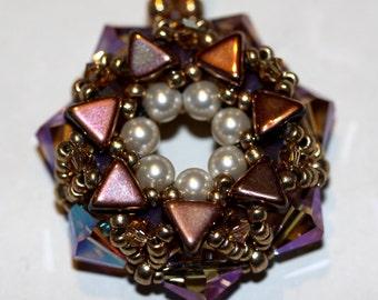 Swarovski Pendant,Pink Swarovski Pendant,Jewelry,Necklace,Beaded Pendant,Sparkling Pendant,Beadweaving,Puca,Beads Amy Johnson Designs,NX1024