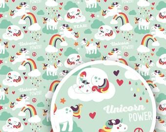 "Unicorn gift wrap, 3 sheets, 16,53"" x 23,39"" (420 x 594 mm), wrapping paper, gift packaging, unicorn pattern"