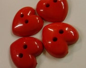 """4 Red Fat Thick Heart Buttons Size 1 1/16"""""""