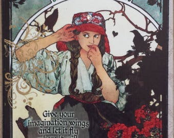 Give Your Imagination Wings and Let It Fly Where It Will Mucha Decoupage Plaque Sign Wall Hanging
