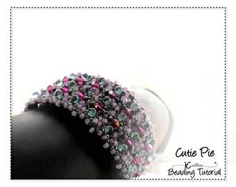 Beading Pattern, Right Angle Weave,  Narrow or Wide, Layered RAW Cuff Beading Instructions, DIY Jewelry Beaded Cuff Tutorial,  CUTIEPIE