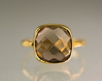 SALE - Smokey Quartz Ring Gold - Cushion Ring - Brown Stone Ring - Solitaire Ring - Stacking Ring - Gold Ring - Square Gem Ring - Stack Ring