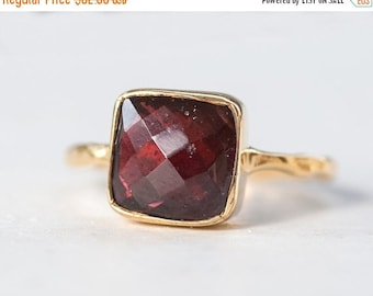 40 OFF - Garnet Ring - January Birthstone Ring - Gemstone Ring - Stacking Ring - Gold Plated - Cushion Cut Ring