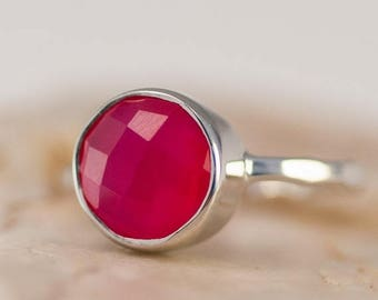 40 OFF - Fuchsia Pink Chalcedony Ring - Gemstone Ring - Stacking Ring - Sterling Silver Ring - Round Ring