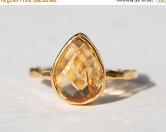 40 OFF - Citrine Ring - November Birthstone Ring - Gemstone Ring - Stacking Ring - Gold Ring - Tear Drop Ring