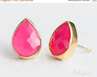 40 OFF - Fuchsia Pink Chalcedony Stud Earrings - October Birthstone Studs - Hot Pink Gemstone Studs - Tear Drop Studs - Gold Earrings - Post