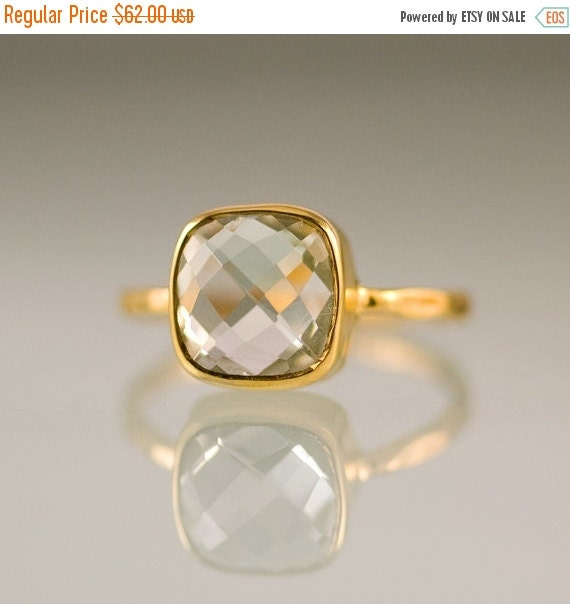 SALE - Green Amethyst Cushion Cut Ring Gold - Gemstone Ring - Gold Ring - Bezel Ring - Stackable Ring